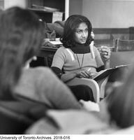 Ceta Ramkhalawansingh, leading an early Women Studies class at the University of Toronto.