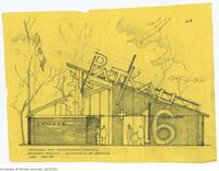 Drawing of the main facade of the Canadian Pavilion for Reciprocity Exhibit - 'Patkau + 6'; prepared by Larry Richards for the Biennale Venice IV International Exhibition of Architecture,