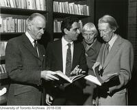 Jack Sword, Alkis Kontos, Kay MacPherson and Prof. C.B. MacPherson hold of copy of the first volume of essays in honour of MacPherson
