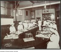 Student in cooking laboratory