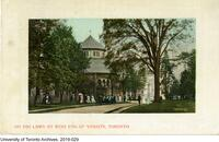 Postcard titled: On the Lawn at the West end of 'Varsity' Toronto