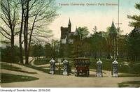 Postcard titled: Toronto University, Queen's Park Entrance