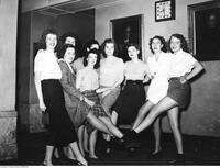 A group of dancing dentettes in rehearsal for the 1946-47 Dentatics musical review.